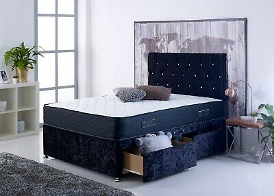 """Magic Divan Bed Set+Mattress+Headboard, 4Ft6"""" Double Bed with Free Delivery 🚚"""