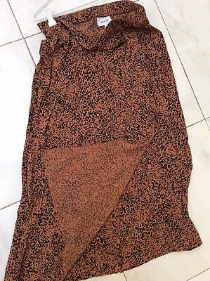 SEED HERITAGE Femme Long Faux Wrap Animal Print Crepe Skirt Maxi Summer 8 Xs S