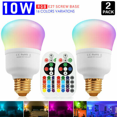 Multi Color Change E26 10W RGBW LED Light Bulb Magic Mood Lamp+Remote for Decor