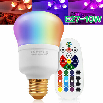 Multi Color Change E26 10W RGBW LED Light Bulb Wireless Remote Magic Memory Lamp