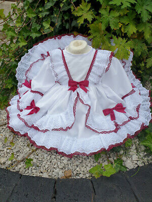 Dream 0-9 Years Baby Girls Christmas X Frilly Wine Bows Puffball Dress