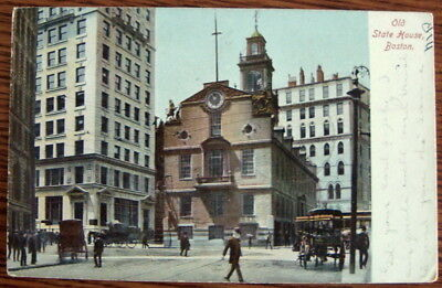Old State House, Boston Massachusetts c1905 horse drawn carriage vintage trolley