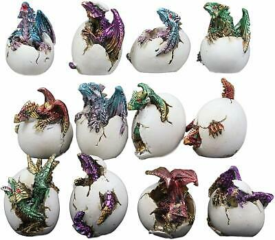 Colorful Miniature Wyrmling Dragons in Eggs Figurine Set of 12 Dragon Hatchlings