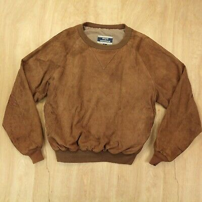 vtg usa made BRIER OF AMSTERDAM suede leather sweatshirt pullover XL tag