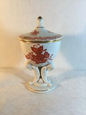 Herend URN Salt Cellar/Trinket Dish Footed Tripod Cherubs Lid Hungary Porcelain