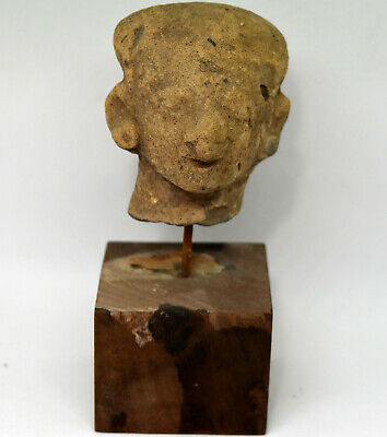 Ancient Authentic Pre-Columbian Carved Clay Face/Head #9