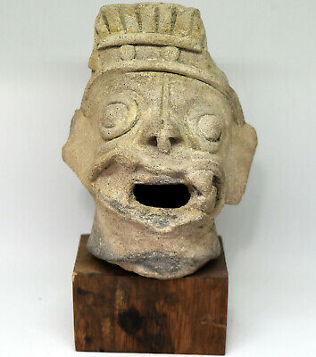 Ancient Authentic Pre-Columbian Carved Clay Face/Head #12