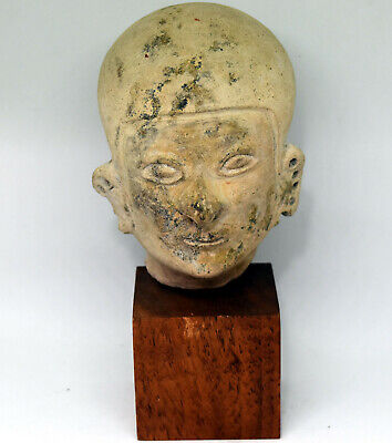 Ancient Authentic Pre-Columbian Carved Clay Face/Head #15