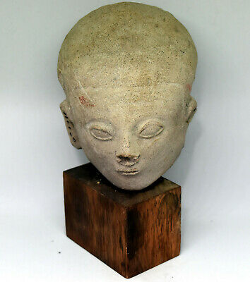Ancient Authentic Pre-Columbian Carved Clay Face/Head #17