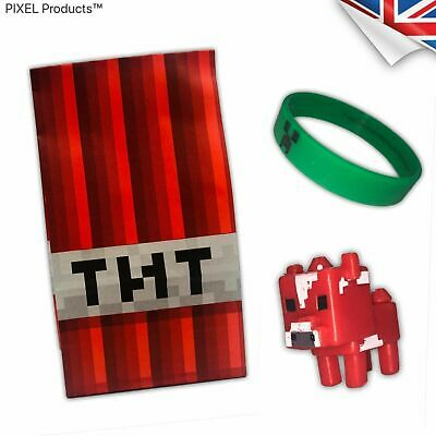MINECRAFT J!NX Creeper wristband with Bag and & Figure - Party favours, loot,TNT