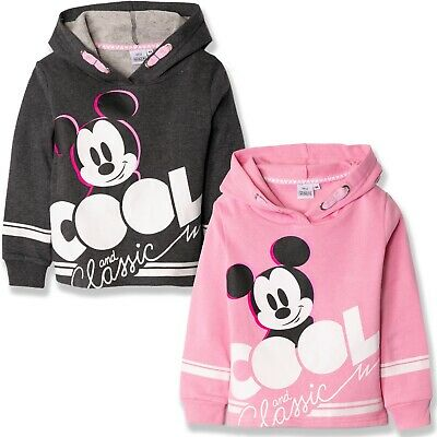 Disney Mickey Mouse Girls Cropped Hoodie Warm Jumper Cotton Sweatshirt 2-8 Yrs