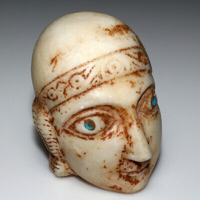 Scarce Roman Marble Male Head With Blue Stone Eye-From Statue Circa 200-300 Ad