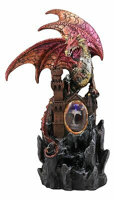 Large Red Fire Dragon On Rocky Castle Statue With Wizard LED Light Glass Ball