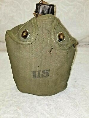 Original 1944 Us Military Canteen With Olive Drab Cover.wwii.keeler Brass Co.