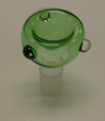 """Round GREEN Clear Glass Bowl Slide Smoking Water Pipe 14mm Male Joint 2"""" Tall"""