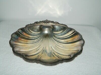 FB Rogers Silver Co Silver on Copper Clam Shell Candy Serving Dish