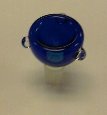 """Round Blue Clear Glass Bowl Slide Smoking Water Pipe 14mm Male Joint 2"""" Tall"""