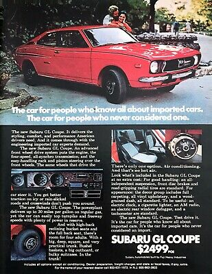 """1973 red Subaru GL Coupe photo """"Style Comfort Performance"""" vintage print ad"""