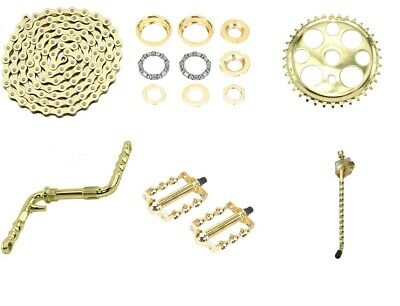 "Gold Twisted Crank Package 6 Items for 20/"" Lowrider Cruiser Bikes New"