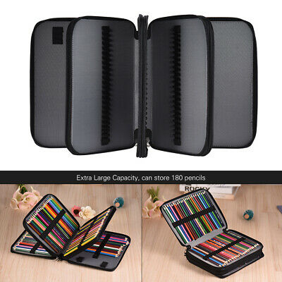 180 Slots Pencil Case Extra-Large Capacity Bag PU Leather Zippered Portable Bag
