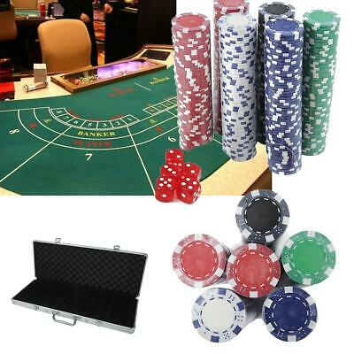 Casino Games Poker Chips Set 300 Chips 2 Poker Cards 5 Dices w/ Aluminum Case