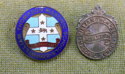 #D142. Two William Thompson Masonic  School   Badges - About 1922