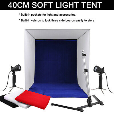 Portable Photo Studio Lighting Cube Tent Kit 40 X 40CM Light Box + 4 Backgrounds