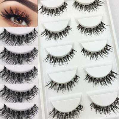 💙5 Pairs 3D False Eyelashes Mink Wispy Cross Long Thick Soft Fake Eye Lashes UK