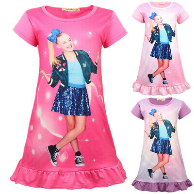 Kids Girls Jojo Siwa Printed Nightdress Short Sleeve Pyjamas Dress for Age 5-12Y
