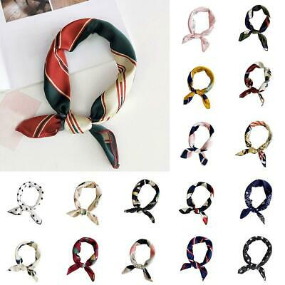 Head-Neck Hair Tie Band Elegant Square Silk Feel Satin Scarf Small Vintage Women