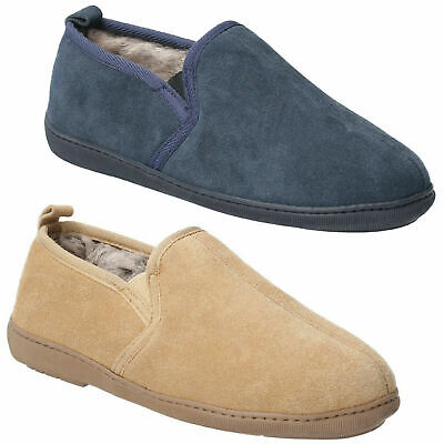 Mens Hush Puppies Arnold Real Suede Slip On Memory Foam Slippers Sizes 7 to 12