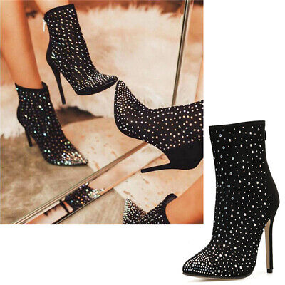 Women Sexy Pointy Toe Black Zip Ankle Boots Diamante Banquet Stiletto Shoes Size