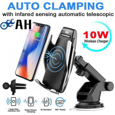 Automatic Clamping QI Wirless Charger Car Mount Air Vent Phone Holder For iPhone