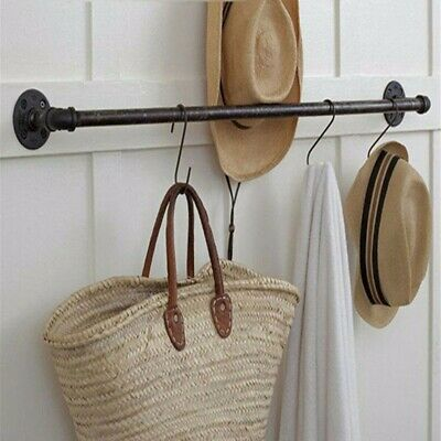 Iron Pipe Holder Towel Clothes Rack Industrial Retro Rustic Tube Wall Mounted