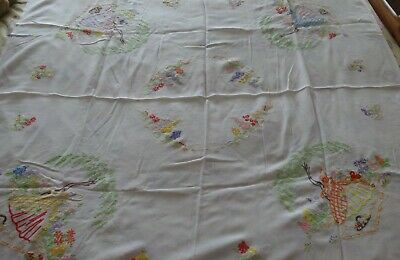 """GORGEOUS Vintage Hand Embroidered Linen Tablecloth with Crinoline Ladies 48""""x52"""""""