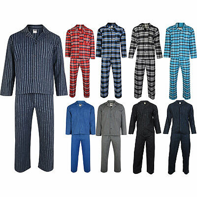 Mens Flannel Pyjamas Set 100% Brushed Cotton Traditional Warm Check or Striped