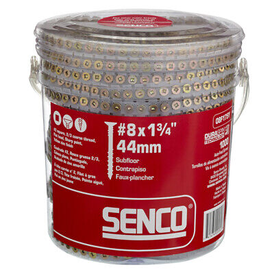 Senco DuraSp No 8 x 1-3/4 L Square Flat Head Yellow Zc-Plated Steel Wood Screws