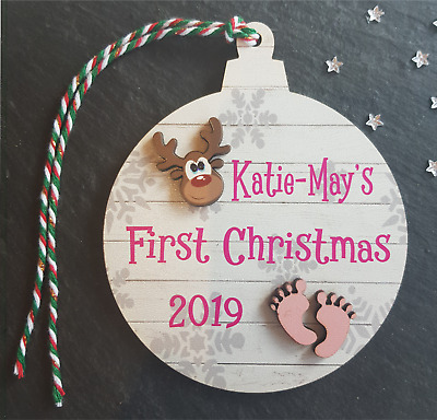 Personalised Baby's Girl First Christmas Tree Bauble 1st Xmas Decoration Gift