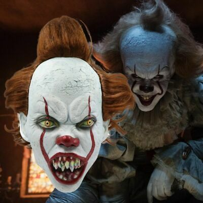Halloween Cosplay Scary Masks Movie Clown Costumes Horror Party Full Face Props