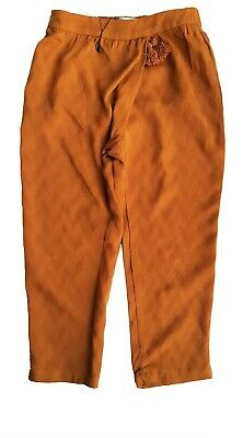 ZARA Girls Casual Trousers Jacquard Amber Pants Cuff Bottoms Pyjamas Tassle 8 y