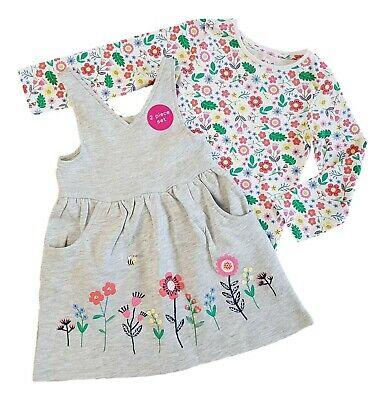 Girls Pinafore Dress Dungaree & Tshirt 2 Piece Set Floral Kids Party Winter