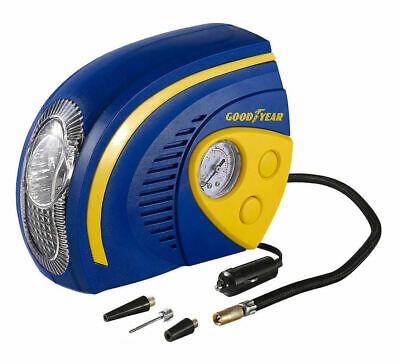 GOODYEAR 12V AIR TYRE COMPRESSOR INFLATOR 2 IN 1 GAUGE LIGHT 100psi CAR BIKE