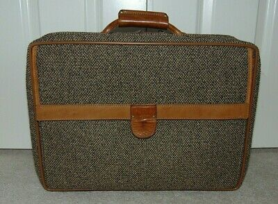 Vintage Hartmann Tweed Belting Leather Suitcase Luggage Carry-On  18""