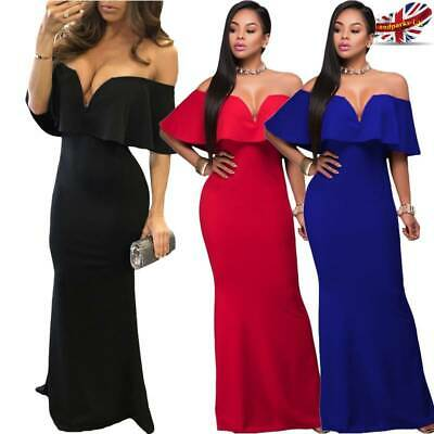 Women Bardot Off Shoulder Frill Maxi Dress Evening Party Formal Ladies Prom Gown
