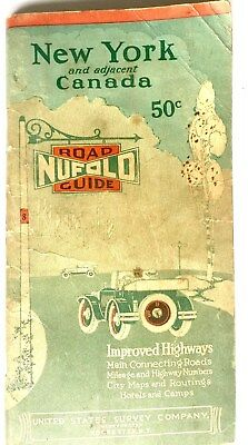 Vintage 1928 New York & Canada Nufold Road Guide Improved Hiway Map Us Survey Co