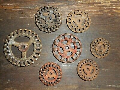 7 Antique Valve Handles Architectural Garden Upcycle Industrial Steampunk