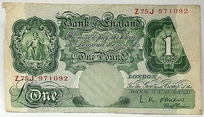 Great Britain 1955 . 1 Pound . Misprint/ Error Obstruction In Printing Note