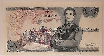 Great Britain 1973... 5 Pounds ... Collector's Misprint Wet Ink Transfer  Note