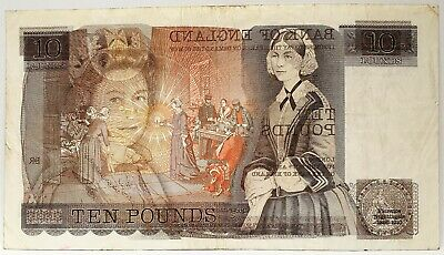 Great Britain 1979 .10 Pounds .Collector's Misprint Note .Large Wet Ink Transfer