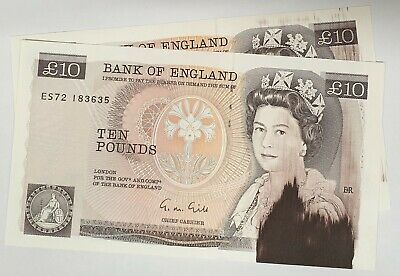 Great Britain 1988 .10 Pounds Consec. Pair .Collector's Misprint Wet Ink .Rare